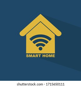 Smart Home icon. Home automation concept, future innovations, blue background