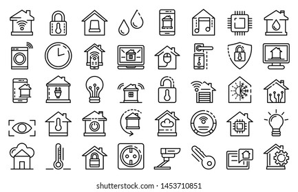 Smart home icons set. Outline set of smart home icons for web design isolated on white background