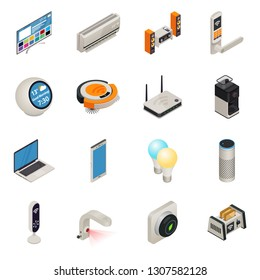 Smart home internet connected devices isometric colorful icon set. illustration