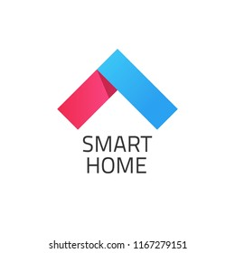 Smart home logo illustration, red and blue colored smart house logotype, modern symbol isolated on white background image