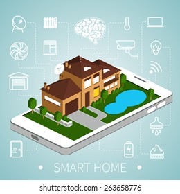 Smart home with outline icons on smart phone.