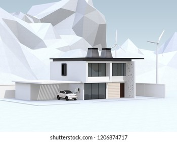 Smart home powered by solar panels and wind turbine on geometric mountain background. Electric vehicle recharging in garage. 3D rendering image.