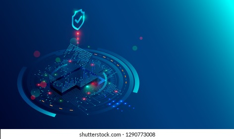 Smart Home Security System concept background. Protection software of IOT or internet of things. Cyber security of house devices. 3D isometric home of lights digits protected shield.