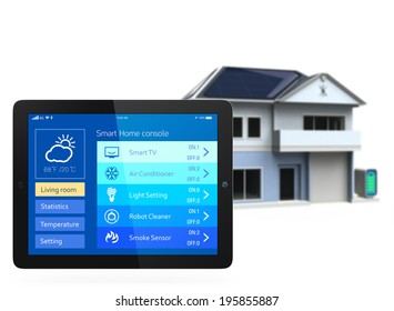 Smart home and tablet PC. The app could manage home energy just few tap to the screen. Concept for home automation.