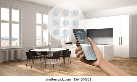 Smart home technology interface on phone app, augmented reality, internet of things, interior design of modern kitchen with connected objects, woman hand holding remote control device, 3d illustration