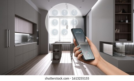 Smart home technology interface on phone app, augmented reality, internet of things, interior design of kitchen with connected objects, woman hand holding remote control device, 3d illustration