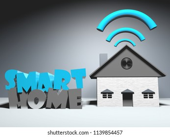 Smart home using wireless connexion technology.3d rendering