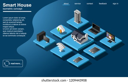 Smart home wifi connected devices flowchart isometric  icon. Internet of things 3d illustration.