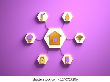 Smart house golden icons placed in hexagon-shaped slots, secondary icons tied to House in the center with phisically accurate ropes, 3d render illustration, purple backdrop