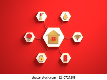 Smart house golden icons placed in hexagon-shaped slots, secondary icons tied to House in the center with phisically accurate ropes, 3d render illustration, red backdrop