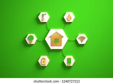 Smart house golden icons placed in hexagon-shaped slots, secondary icons tied to House in the center with phisically accurate ropes, 3d render illustration, green backdrop