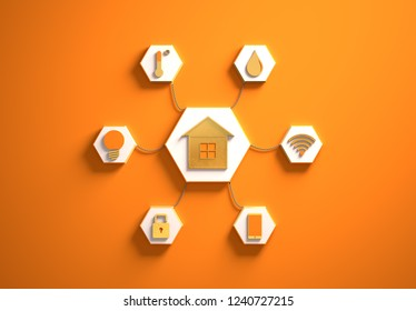 Smart house golden icons placed in hexagon-shaped slots, secondary icons tied to House in the center with phisically accurate ropes, 3d render illustration, orange backdrop