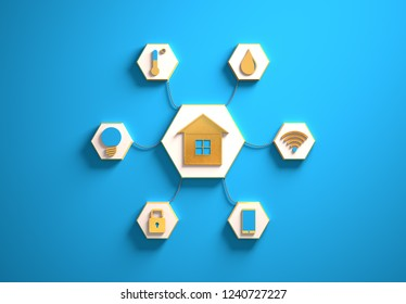 Smart house golden icons placed in hexagon-shaped slots, secondary icons tied to House in the center with phisically accurate ropes, 3d render illustration, blue backdrop