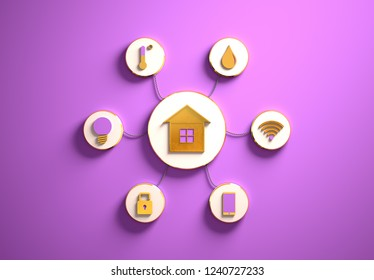 Smart house golden icons placed in disc-shaped slots, secondary icons tied to House in the center with phisically accurate ropes, 3d render illustration, purple backdrop