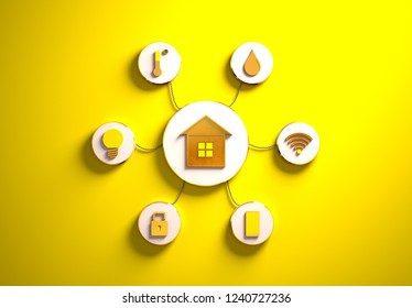 Smart house golden icons placed in disc-shaped slots, secondary icons tied to House in the center with phisically accurate ropes, 3d render illustration, yellow backdrop