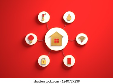 Smart house golden icons placed in disc-shaped slots, secondary icons tied to House in the center with phisically accurate ropes, 3d render illustration, red backdrop