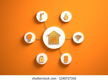 Smart house golden icons placed in disc-shaped slots, secondary icons tied to House in the center with phisically accurate ropes, 3d render illustration, orange backdrop