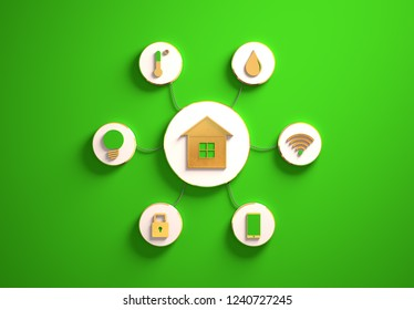 Smart house golden icons placed in disc-shaped slots, secondary icons tied to House in the center with phisically accurate ropes, 3d render illustration, green backdrop