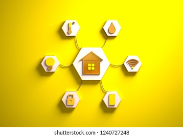 Smart house golden icons placed in hexagon-shaped slots, secondary icons tied to House in the center with phisically accurate ropes, 3d render illustration, yellow backdrop