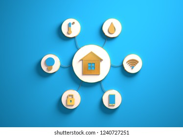 Smart house golden icons placed in disc-shaped slots, secondary icons tied to House in the center with phisically accurate ropes, 3d render illustration, blue backdrop