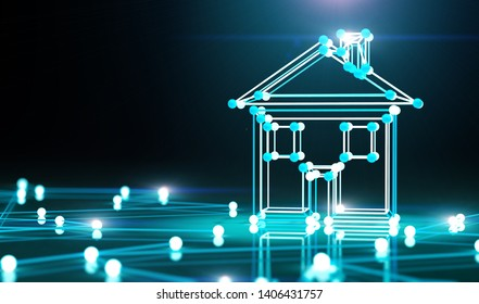 Smart house and net.3d illustration.Real state and technology.Investment and internet business.