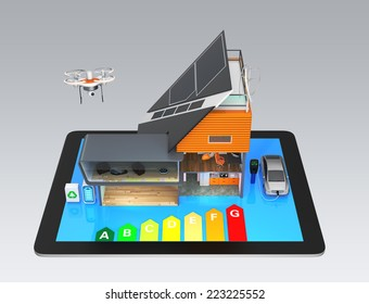 Smart house on a tablet PC. A concept for a home support by renewable energy.