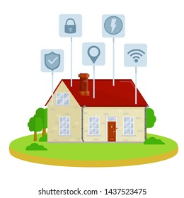 Smart house. Small home. Suburban one-storey building. Online system management. Wifi, lock, security, electricity, energy, location. Modern effective communication. Cartoon flat illustration