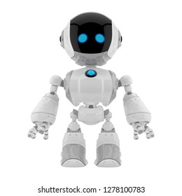 Smart little cyber toy in white color / Cute robotic toy 3d rendering