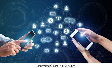 Smart mobile phone digital technology application future cashless online banking, finance, investment, blockchain business transition social network internet  innovation disrupt consumer behaviour