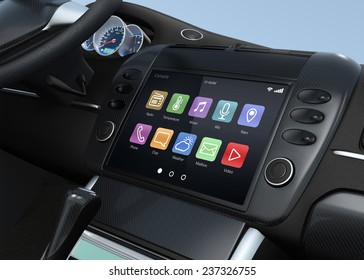 Smart multimedia touchscreen system for automobile. Original design.