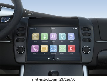 Smart multimedia touchscreen system for automobile. Original design.