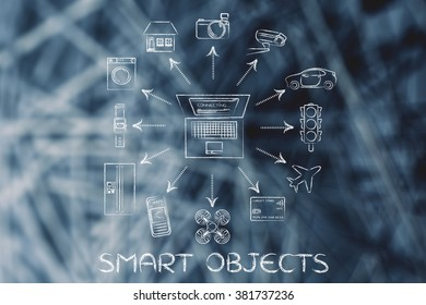 Smart objects: laptop and internet of things (Please note: credit card intentionally designed with unmatchable shorter than usual number ending in -X)