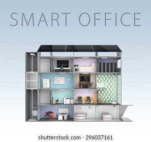Smart office concept. Energy support by solar panel, storage to battery system. (With text) 3D rendering image with clipping path.