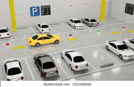 Smart Parking lot Guidance System with Overhead Indicators, Intelligent sensors assist control/monitor, Efficient management, 3D Rendering