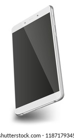 Smart phone with black screen isolated on white background. 3D illustration.