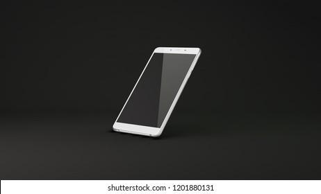 Smart phone with black screen on dark background. 3D illustration.