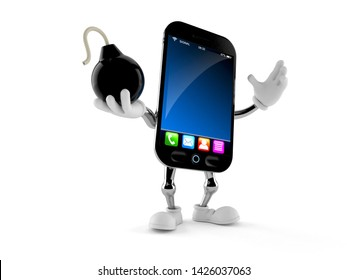 Smart phone character holding bomb isolated on white background. 3d illustration