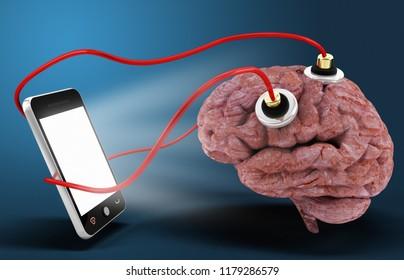 smart phone connected brain dependent concept 3d rendering illustration
