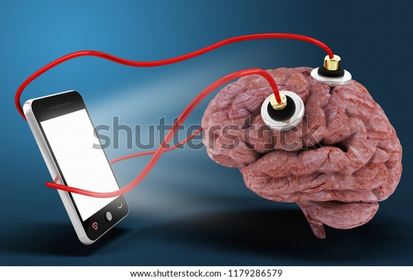 Smart Phone Connected Brain Dependent Concept Stock Illustration 1179286579