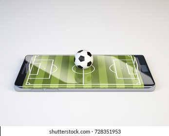 Smart phone as football field, watch online, bet online concept, 3d rendering