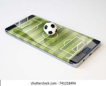 Smart phone as football field, watch online, bet online concept, 3d rendering
