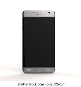 Smart phone in front view 3d rendering