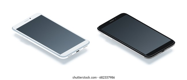 Smart phone for illustration. Isometric view. Camera angle: -35 degrees vertical, 45 degrees horizontal Suitable for app demonstrations, and presentations. White and black design.