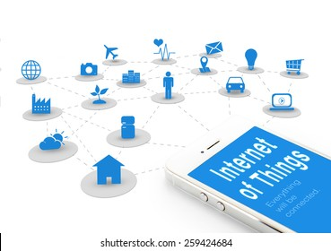 Smart phone with Internet of things (IoT) word and objects icon,Internet networking concept