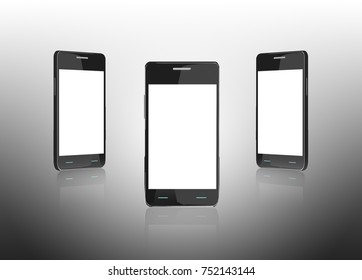 Smart phone (mobile phone) with empty screen on gray gradient background. Mock up template