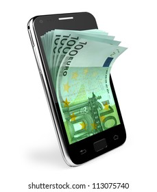 Smart phone with money concept.