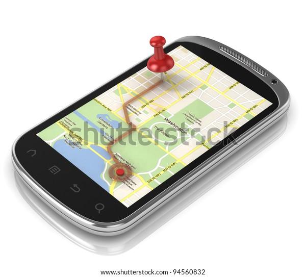 smart phone navigation - mobile gps 3d concept