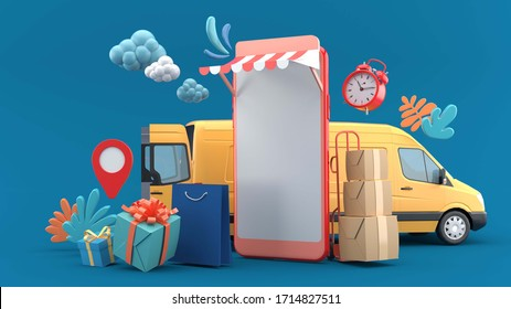 Smart phone is surrounded by The yellow van, parcels, shopping bags and alarm clocks on a blue background.-3d rendering.