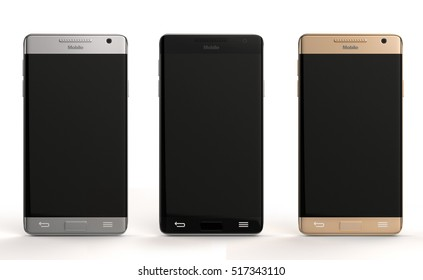 Smart phones in different colors 3d rendering