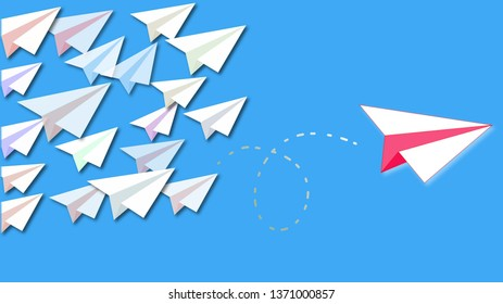 Smart red paper plane leaves the flock to achieve success. Successful plane leaves the stereotypes and find a different way to achieve success
